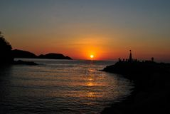 Sunrise over Pacific ocean in Huatulco, Mexico. Beautiful view of Pacific ocean Stock Images