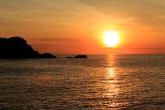 Sunrise over pacific ocean. In vietnam`s east pole, where view first sun in vietnam Stock Images