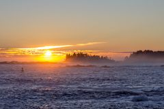 Sunrise over the Pacific Ocean, Ucluelet, BC, Canada Stock Images