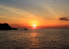 Sunrise over pacific ocean. In vietnam`s east pole, where view first sun in vietnam Stock Image