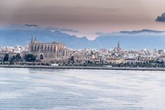 Sunrise over Palma bay from Queen Elizabeth. Stock Image