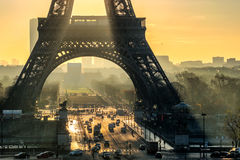Sunrise over Paris. Sunrise at the effeil tower Paris France stock photo
