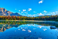 Sunrise Over Patricia Lake in Jasper National Park Stock Photos