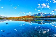 Sunrise Over Patricia Lake in Jasper National Park Stock Photography