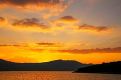 Sunrise over Peljesac Peninsula and Peljeski Strait, Korcula, Cr Stock Images
