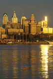 Sunrise over Philadelphia from the Delaware River, PA Stock Photography
