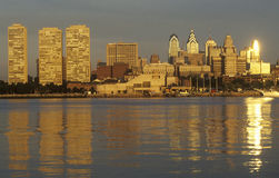 Sunrise over Philadelphia from the Delaware River, PA Stock Photography