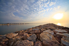 Sunrise over the pier Royalty Free Stock Photos