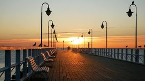 Sunrise over pier in Gdynia, Poland. Beautiful nature, baltic sea and seagulls stock video footage