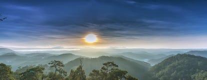 Sunrise over pine forest highland Da Lat Stock Image