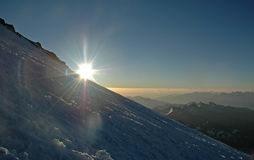 Sunrise over the planet. Caucasus mountains. Russia stock photo
