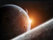 Sunrise over planet Earth in space Royalty Free Stock Photos