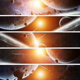 Sunrise over planet Earth in space Stock Images