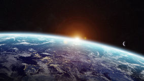 Sunrise over planet Earth in space Royalty Free Stock Photography