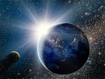 Sunrise over the planet and satellites in space. Some graphics in this image is provided by NASA and can be found at ; To create a file was the program used Royalty Free Illustration