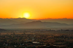 Sunrise over Podgorica. The sunrise in Montenegro's mountains, near the capital Podgorica Stock Photo