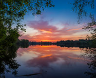 Sunrise over the pond Royalty Free Stock Images