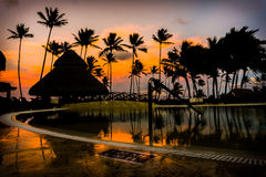 Sunrise Over the Pool in a Caribbean Paradise. Sunrise Over the Pools in a Caribbean Paradise Stock Images