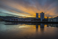 Sunrise over the port of Halden Stock Photography