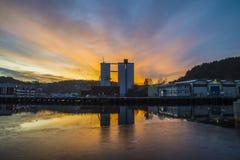 Sunrise over the port of Halden Stock Photo