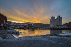 Sunrise over the port of Halden Royalty Free Stock Photography