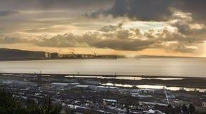 Sunrise over Port Talbot Royalty Free Stock Photo