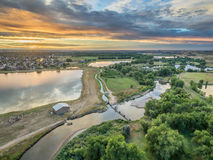 Sunrise over Poudre River - aerial view Royalty Free Stock Photos