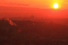 Sunrise over Prague Royalty Free Stock Images