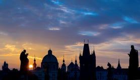 Sunrise over Prague Royalty Free Stock Image