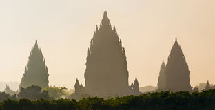 Sunrise over Prambanan temple, Yogyakarta, Java, Indonesia Stock Photo