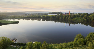 Sunrise over the Ptitsegradsky pond. Sergiev Posad. Stock Images