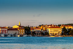 Sunrise over Pula Croatia. Sea front Pula Croatia in warm morning sunshine Royalty Free Stock Image