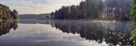 Sunrise over quiet lake Balsys Stock Images