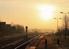 Sunrise over railway tracks Kirkham and Wesham. Stock Images