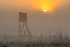 Sunrise over raised hide. Beautiful sunrise over foggy meadow with raised hide. Tranquil rural scene photographed with full frame camera Royalty Free Stock Images