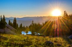 Sunrise over Range. Suns first rays over the mountain range royalty free stock images