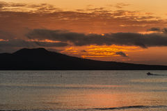 Sunrise over Rangitoto Volcano near Auckland. Stock Photo