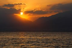 Sunrise over the Red Sea and the bay of  Aqaba. Spectacular Sunrise over the Red Sea and the bay of  Aqaba. Copy space, inspirational background Stock Photography