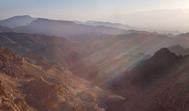Sunrise over Red sea. Early morning in ancient mountains of Sinai desert. Sunrise over Red sea Stock Photography