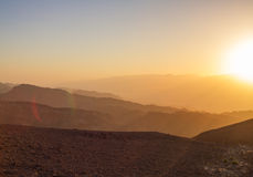 Sunrise over Red sea. Early morning in ancient mountains of Sinai desert. Sunrise over Red sea Royalty Free Stock Photography