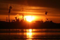 Sunrise over Refinery Stock Photo