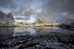 Sunrise over Reine Stock Images