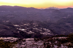 Sunrise over the rice terrace in Yuanyang, Yunnan, China Royalty Free Stock Photography