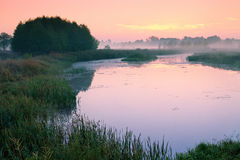 Sunrise over the river. Mist over the river at sunrise royalty free stock image