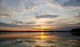 Sunrise over the river. Dnieper. Beautiful water landscape Royalty Free Stock Photos