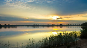 Sunrise over the river. Dnieper. Beautiful water landscape Royalty Free Stock Photo