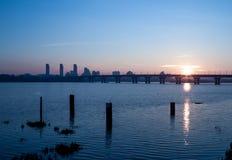 Sunrise over river. Sunrise over the Dnipro river in Kiev city, Ukraine Stock Photos