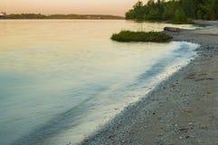 Sunrise over the river. River Don. Rostov region. Sunrise over the river. Barge in river Don. Rostov region Royalty Free Stock Images