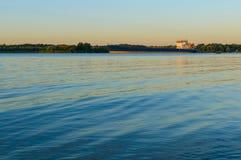 Sunrise over the river. River Don. Rostov region. Sunrise over the river. Barge in river Don. Rostov region Stock Photography