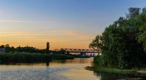 Sunrise over the river. River Don. Rostov region. Sunrise over the river. Bridge over river Don. Rostov region Stock Photography
